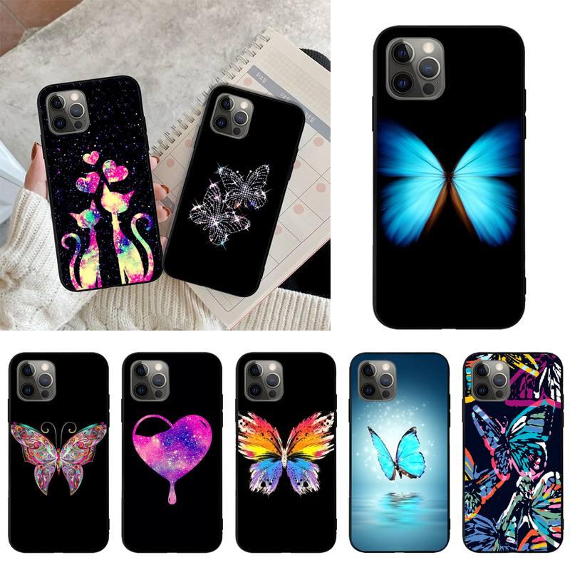 Блестящий чехол для телефона с бабочкой, оболочка, чехлы для Iphone 11 12 PRO MAX 6S 7 8 PLUS X XR SE 2020, черный