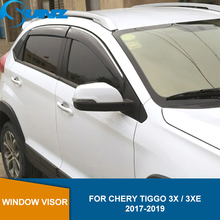 smoke Car Side Window Deflectors For CHERY Tiggo 3x / 3XE 2017 2018 2019  Sun Shade Awnings Shelters Guards accessories SUNZ