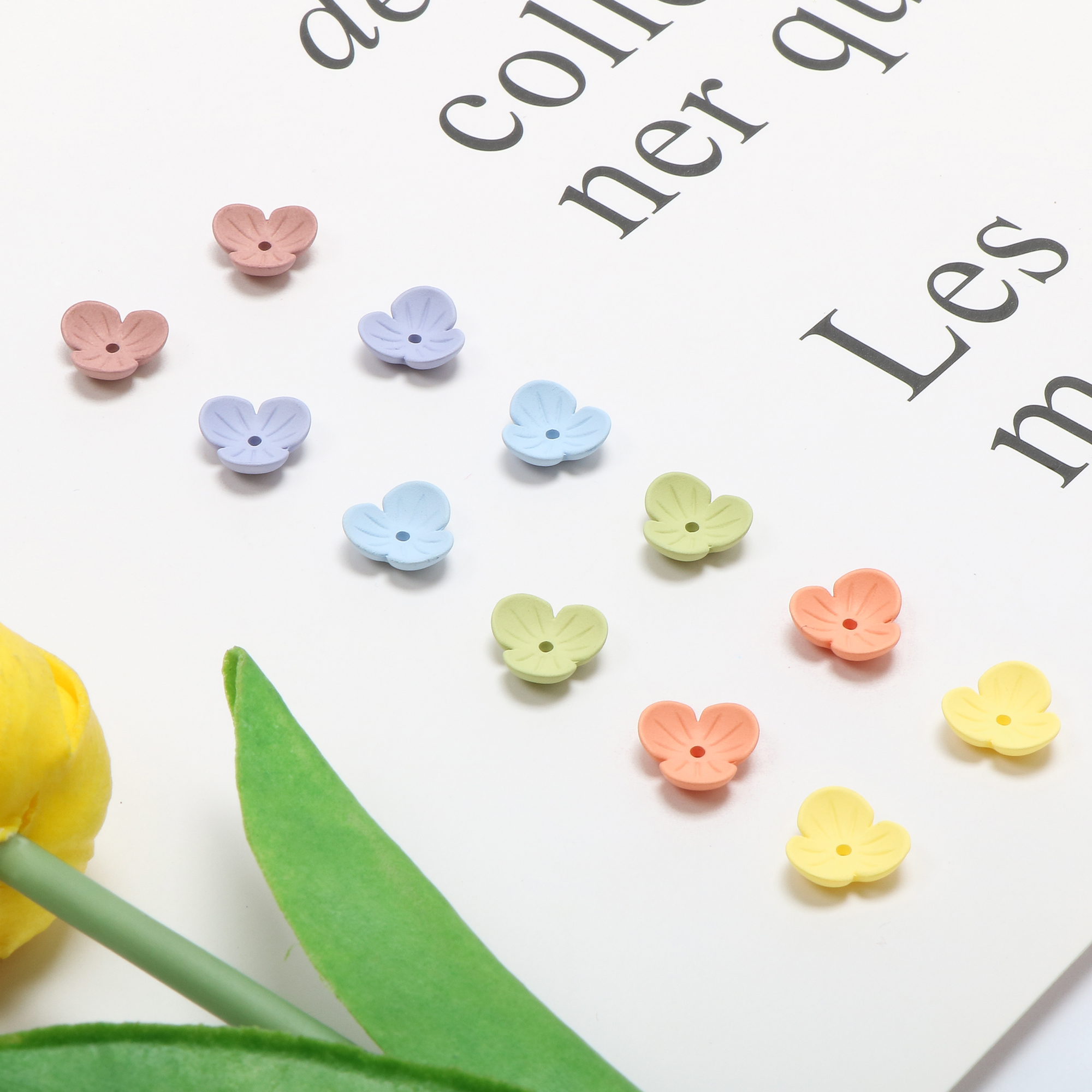 Spring And Summer Lovely Matte Mist Macarone Mini Three Petal Small Bowl Flower DIY Hand Jewelry Earring Materials 10 Pieces