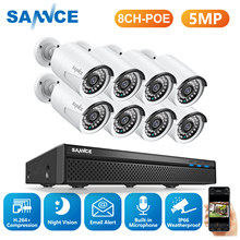 Sannce 8CH 5MP Fhd Poe Video Beveiligingssysteem H.264 + 5MP Nvr Met 4X 8X Outdoor Waterdichte Ip Camera Gebouwd in Microfoon Cctv Kit(China)