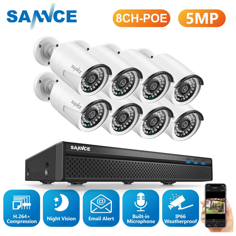 SANNCE 8CH 5MP FHD POE wideo System bezpieczeństwa H.264 + 5MP NVR z 4X 8X zewnętrzna wodoodporna kamera IP wbudowany mikrofon zestaw CCTV