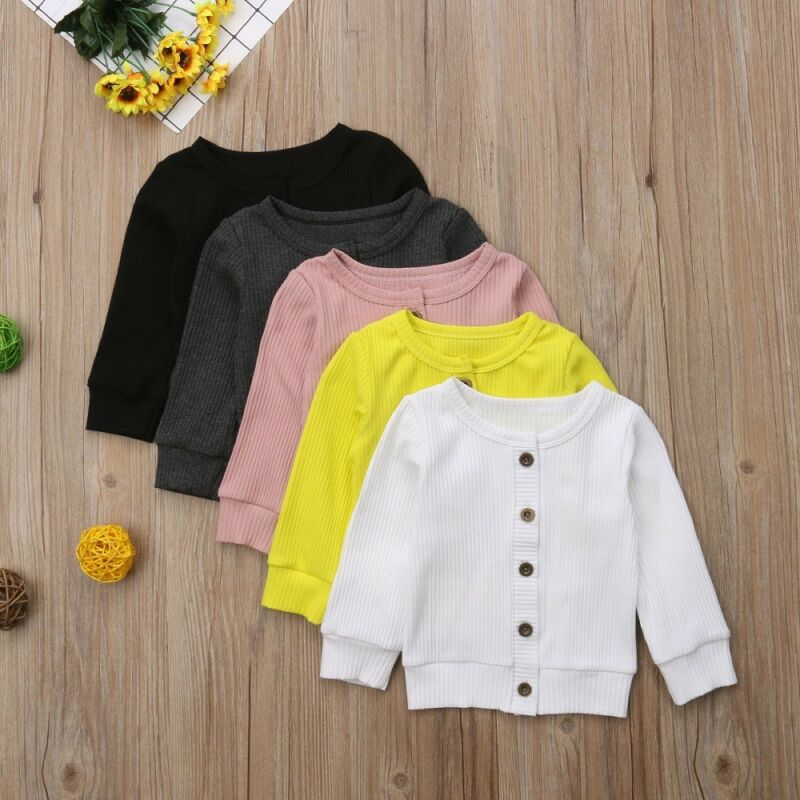 Kids Baby Boys Girls Coats Newborn Spring Long Sleeve Round Neck Solid Knitted Sweater Buttons Cardigan Jackets Tops 0-24M