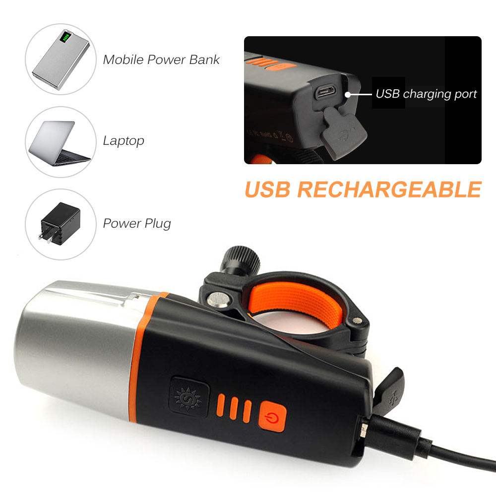 Bike Light USB Rechargeable IP65 Bicycle LED Front Light Handlebar Flashlight With Light Sensing Function