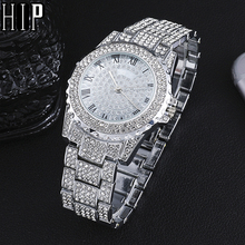 Hip Hop Luxury Mens Iced Out Watches Date Quartz Wrist Watches With Micropave CZ Alloy Watch For Women Men Jewelry