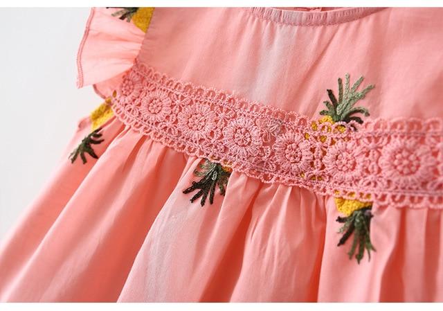 Lato noworodek niemowlę dziewczynka sukienka falbany rękaw wiśnia truskawka haftowana bawełniana koszula sukienka odzież