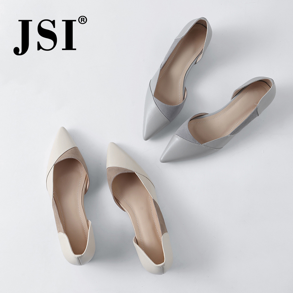 JSI Spring New Casual Women Pumps Quality Cow Leather Slip-On Concise White Gray Lady Shoes Sexy Pointed Toe Shallow Pumps JO34