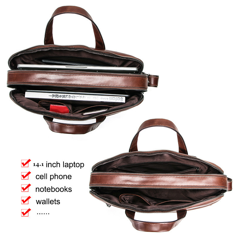 "Business Men's Briefcases Genuine Leather Laptop Bags For 14"" Computer Bag Men Shoulder Bag Male Handbags Bandolera Bolso Hombre"