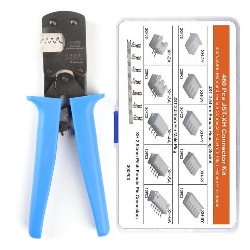 IWS-3220M 460PCS JST-XH Terminals Kit,Micro Connector Pin Crimping Tool 0.03-0.52mm² For D-Sub,Open Barrel Suits Molex,JST,JAE