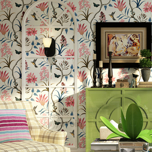 Image 3 - chinoiserie wallpaper Bedroom Wall Covering modern Vintage Pink Floral Wallpaper Blue Tropical Butterfly Birds Flower Wall Paper