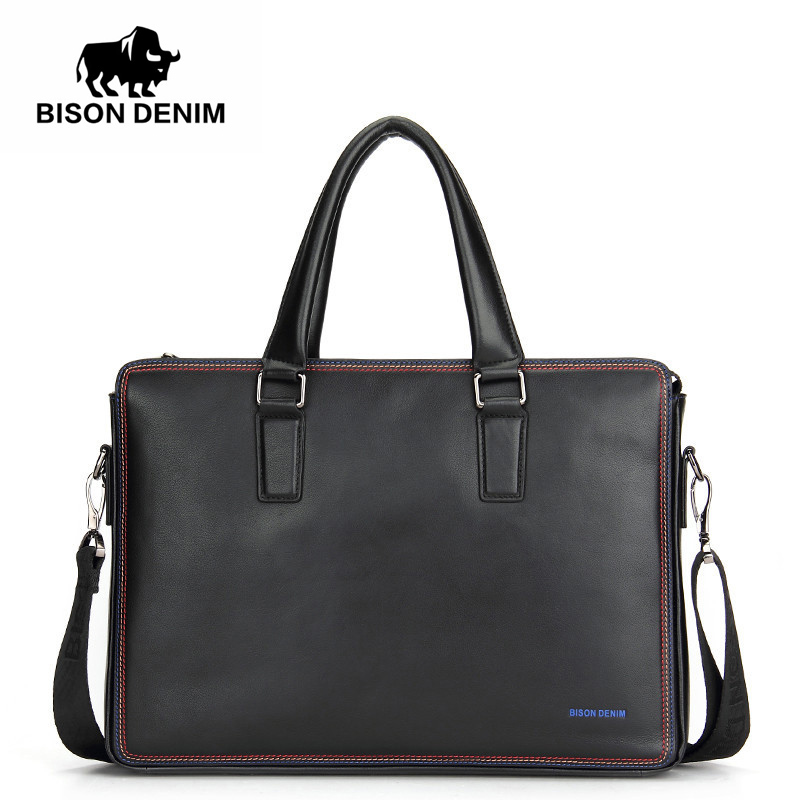 BISON DENIM Luxury Famous Brand Handbag Shoulder Bags Business Men Briefcase Laptop Bolsos Men's Travel Bags Genuine Leather Bag
