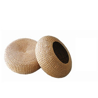 Beach House Woven Wicker Seagrass Low Table Footstool or Ottoman Furniture Piece Round Cushioned Top Stool|  -
