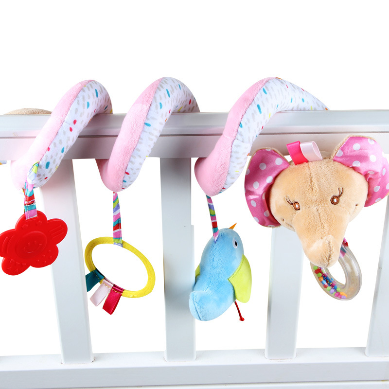 Educational Toys For Kids 0-12 Months Spiral Toy On The Bed Toy Plush Cartoon Bear Fox Christmas Hanging Toys Plush AA50YL