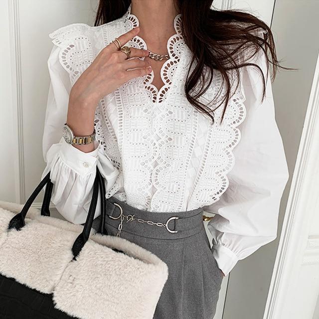 Nomikuma Lace Ruffle Patchwork Women Blouse Puff Long Sleeve V-neck Elegant Blusas Top 2021 Spring New Pullover Shirt 6E071 3