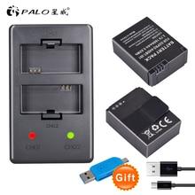 цена на PALO 2Pcs Hero 3+ Battery 3.7V AHDBT-301 Hero3 Battery + USB Dual Charger For GoPro Go Pro Hero 3+ AHDBT302 camera accessories