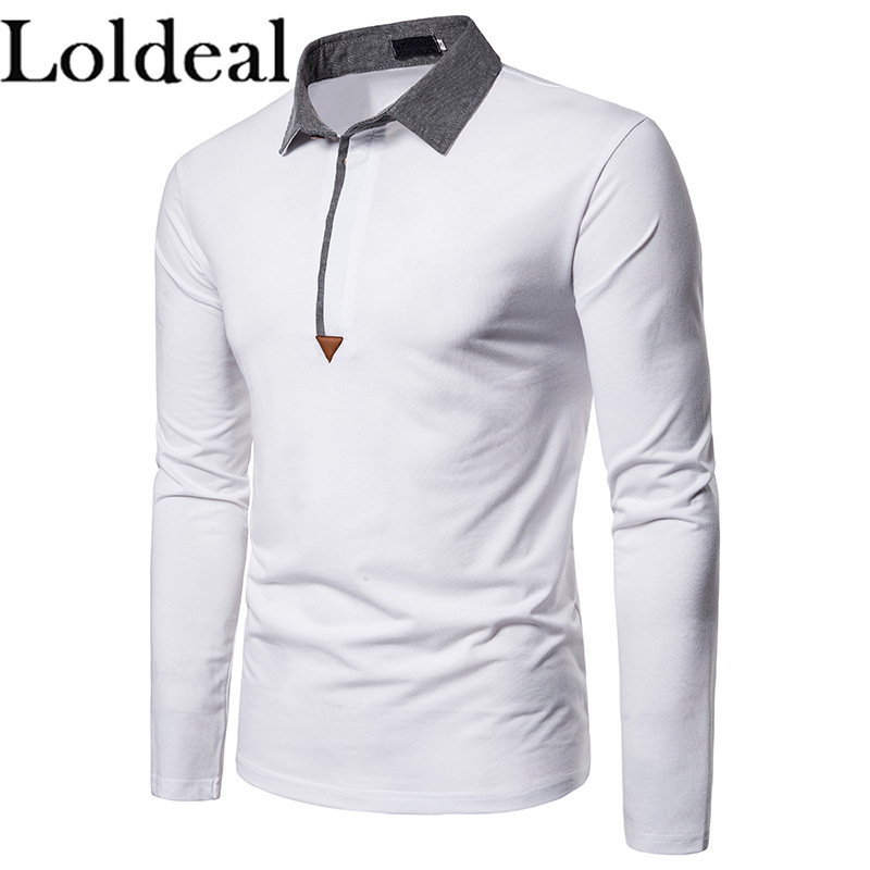 Loldeal Fashion Red Men's Solid Polo Shirt New Long Sleeve Patchwork Mens Polos Golf Dress Casual Slim Fit