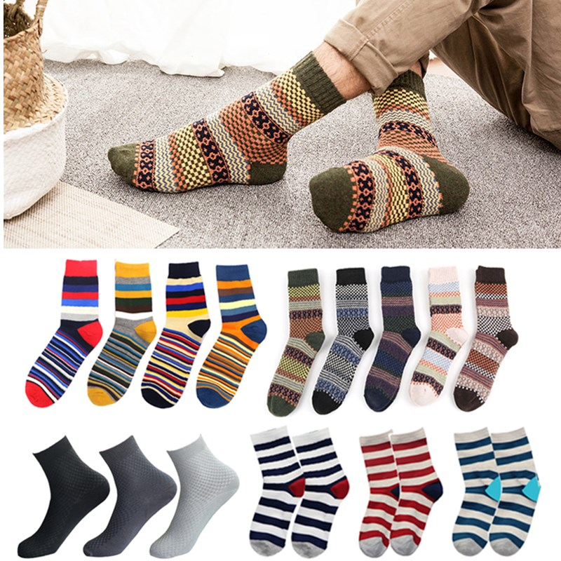 1/3/5Pair Winter Men Socks Breathable Long Tube Cotton Socks Striped Solid Color Comfortable Thicker Crew Socks Chaussette Homme
