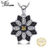 JPalace Flower Natural Black Spinel Pendant Necklace 925 Sterling Silver Gemstone Choker Statement Necklace Women Without Chain