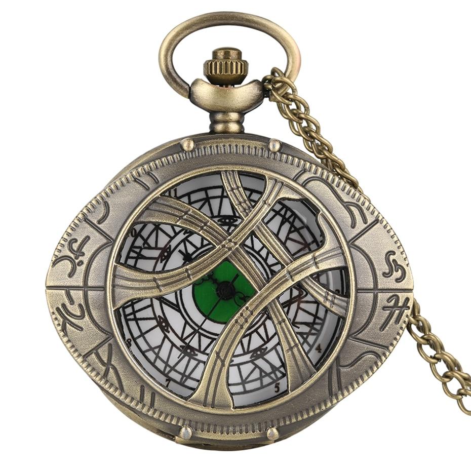 Retro Super Hero Dr. Strange Metal Eye Agamotto Quartz Pocket Watch Bronze Doctor Who Necklace Sweater Chain Antique Clock Gifts