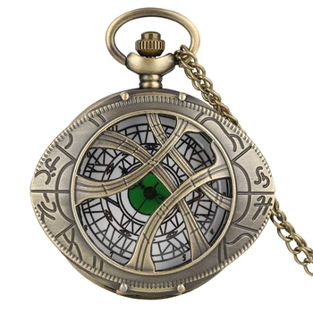 Retro Super Hero Dr. Strange Metal Eye Agamotto Quartz Pocket Watch Bronze Doctor Who Necklace Sweater Chain Antique Clock Gifts