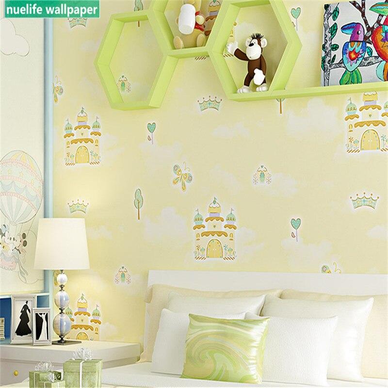 Зеленый мультфильм замок дерево узор нетканые обои гостиная спальня детская комната ТВ фон обои - 3