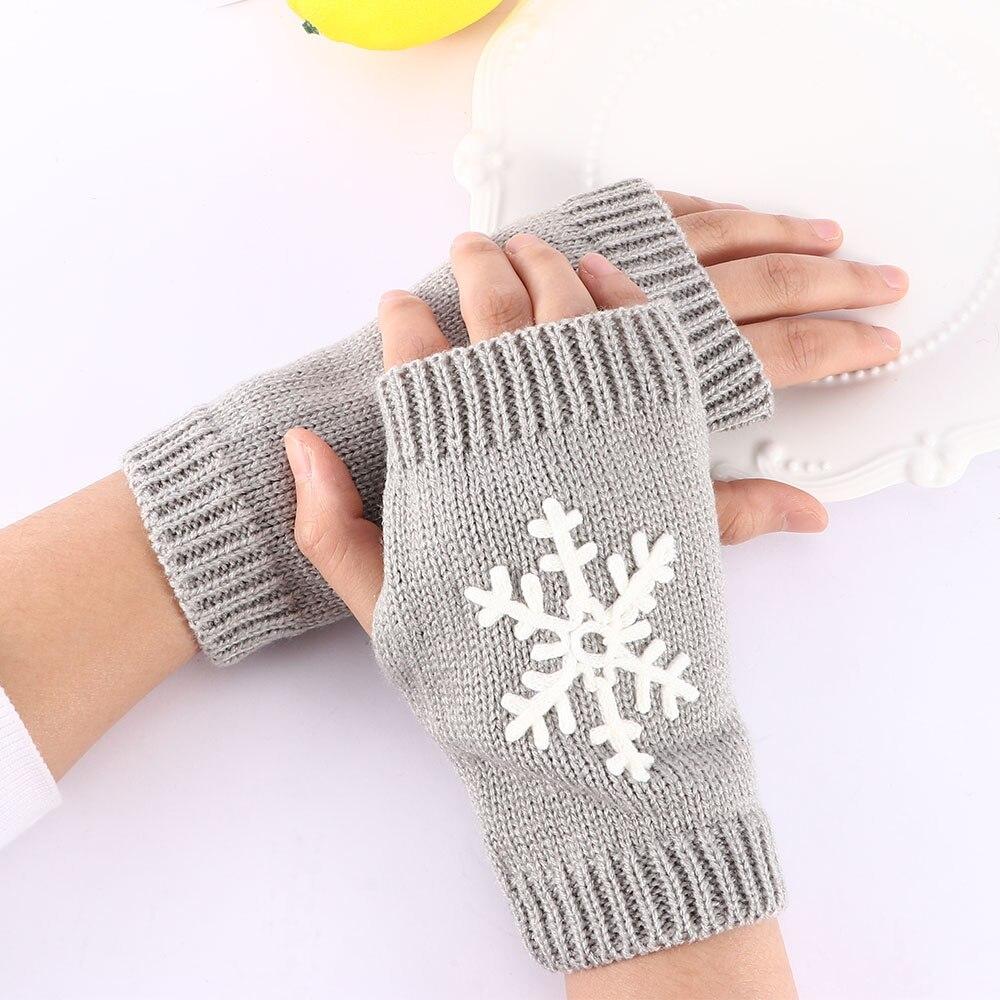 New Christmas Snowflake Gloves Girls Knit Gloves Half Finger Gloves Winter Soft Warm Gloves
