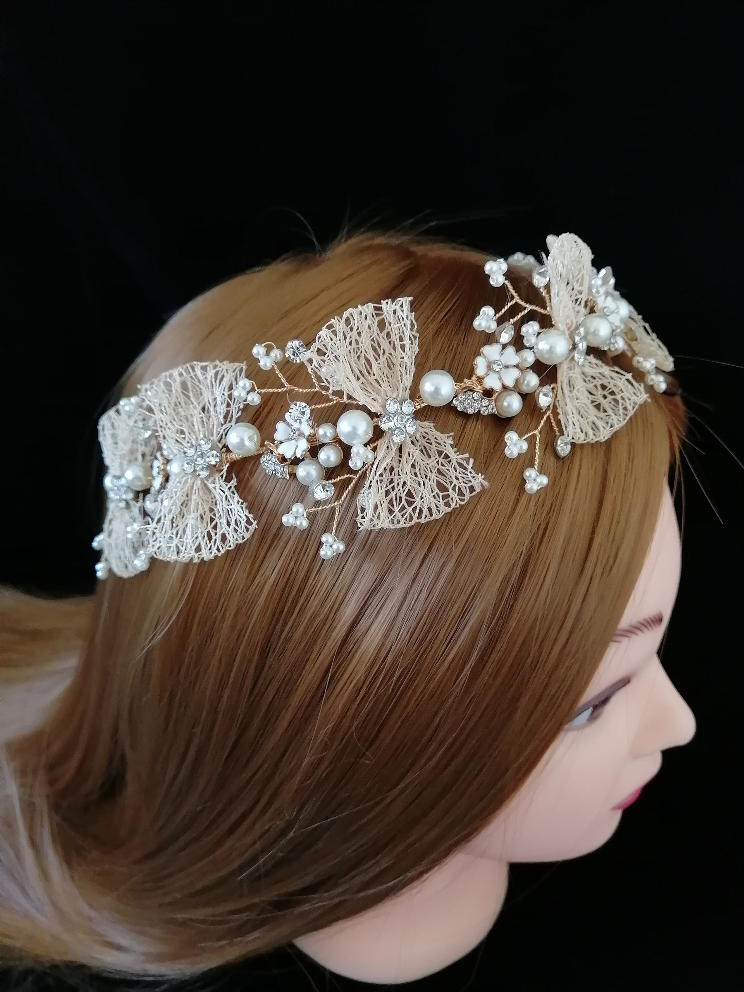 Superior Champagne Bow Bridal Tiaras Headbands Hairwear Chaplet Hairdressing  Jewelry Accessories,Luxury Korean Pearl Comb