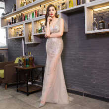 Sexy Deep V-neck Evening Dress Beaded Charming Perspective Wedding Party Nightclub Mermaid Long 2019