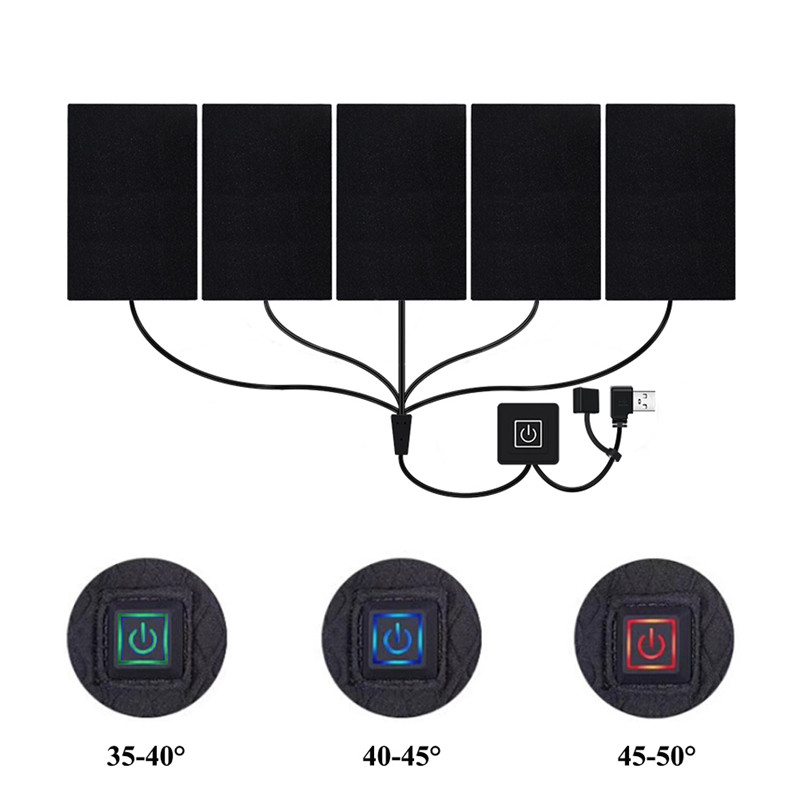 5V Electric Heating Board USB Charging Clothes Heating Pad Vest Jacket Heating Insulation Pad