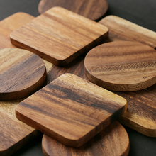 1Pc Wood Coaster Square Round Mug Coasters Table Mat Tea Coffee Bar Cup Mat Pad Wooden Drink Coasters Placemat Table Accessories