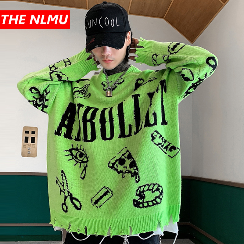 Harajuku Knitted Sweaters Men Hip Hop Loose Pullover Letter Printed Sweater Streetwear Male Winter 2019 Clothing Coat WG597