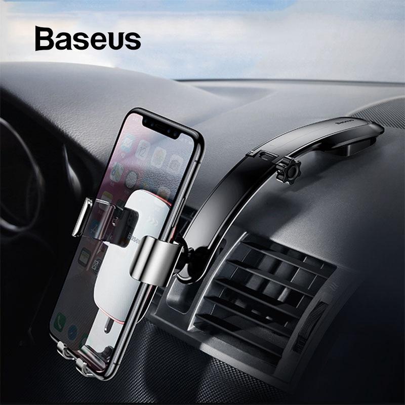 Baseus Metal Car Phone Mount Holder For iPhone Samsung Foldable Gravity Mobile Phone Holder for Dashboard Paste Car Holder Stand