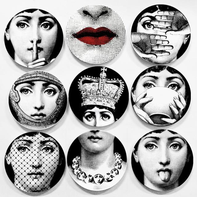 Lina Face Wall Decorative Ceramic Plates Home Decor Dish Porcelain Wall Hanging Art Plates Black White Scandinavian Style