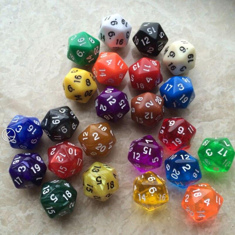 10 PCS Transparent Multicolor Dice Random Colors 20 Sided Dice Funny Puzzle Game Send Children