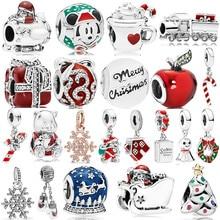Подходит для Pandora, очаровательный браслет, ожерелье, сделай сам, женское ювелирное изделие, новинка,,, Рождество, сделай сам, бисер, Рождественский Шарм