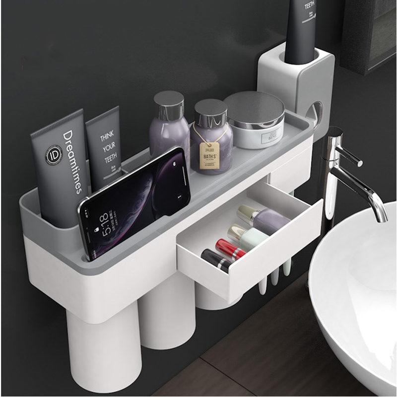 Jordan&Judy Mutifunctional Magnetic Toothbrush Holder With Toothpaste Squeezer Cups Storage Rack Nail Free Mount For Bathroom