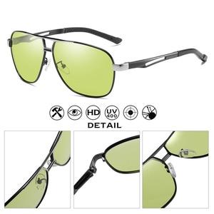 Image 3 - للجنسين الألومنيوم المغنيسيوم HD اللونية الاستقطاب النظارات الشمسية الرجال الأصفر يوم ليلة القيادة الذكور Oculos مكافحة وهج نظارات Gafas
