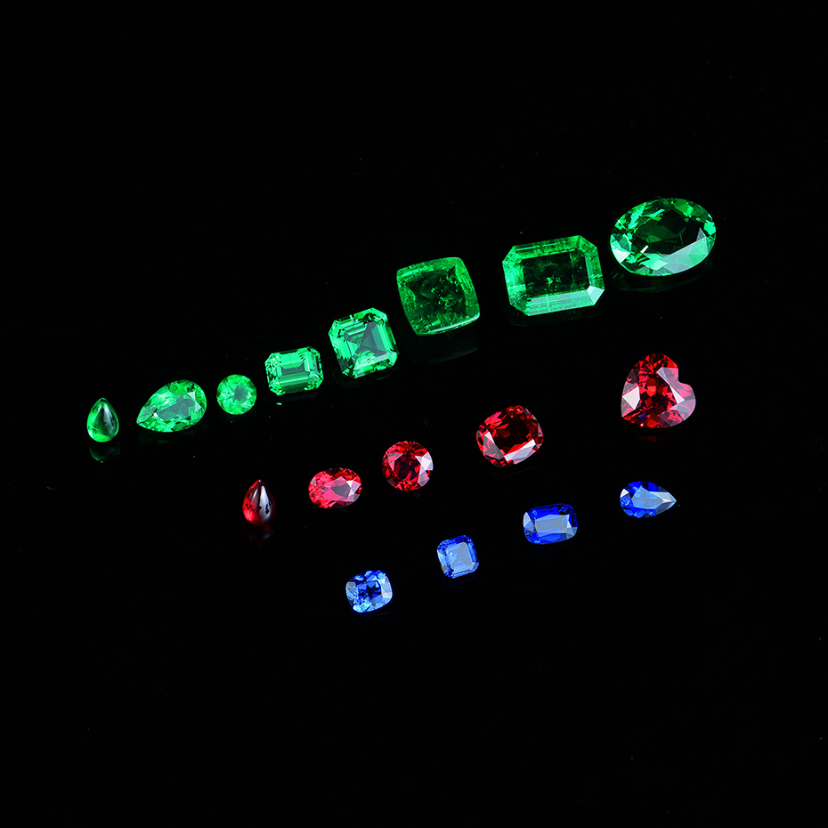 Kuololit Customize Lab Ruby Emerald Sapphire Diamonds Moissanite Solid K Gold Jewelry RING and earrings Necklace Engagement