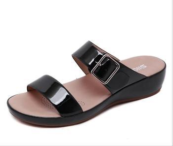 =2020 Women Sandals Shoes Open Toe Super Soft Platform Sandals Women Summer Shoes Nti-Slip Flat Sandals Plus фото