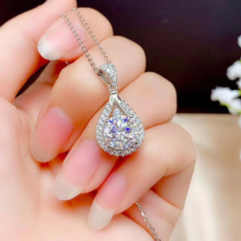Exquisite 3 Carat Gemstone Pendant Necklaces for Women Luxury 925 Silver Jewelry ELegant Sweater Necklace Coker Fine Jewelry image