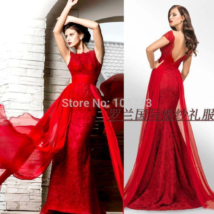 Vestido de festa de formatura de renda longa vermelha elegante da mãe da noiva vestidos de noite