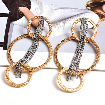 Wholesale ZA New Arrive Gold Round Dangling Drop Earrings With Hang Long Crystal Claw Chains Fine Jewelry Accessories For Women wholesale colorful crystals long drop earrings for women fine jewelry accessories dangling pendientes bijoux christmas gift