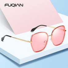 FUQIAN Brand 2019 Vintage Metal Polarized Ladies Sunglasses Big Irregular Pink Black Women Sun Glasses Gradient Lens Eyewear