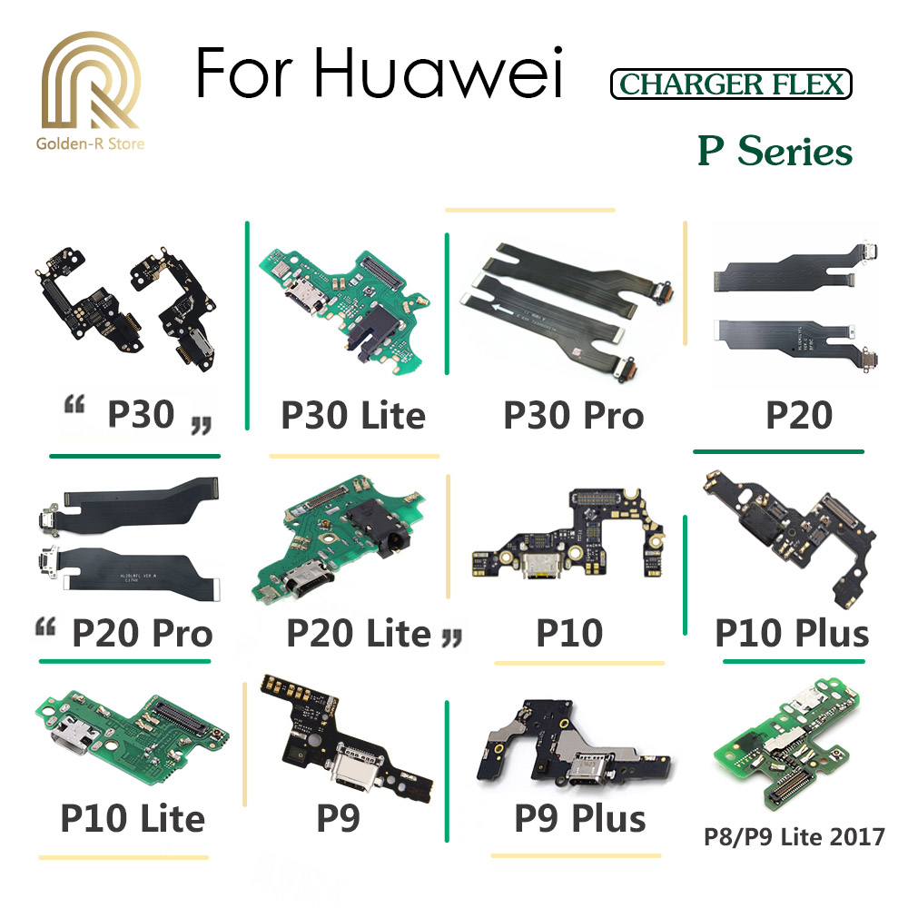 Golden-R Charging Port Connector Board Parts Flex Cable With Microphone Mic For Huawei P30 P20 Pro P10 P9 Plus P8 Lite 2017