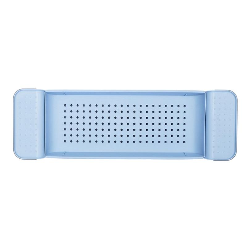 Extendable Bathroom Shelf Bathtub Tray Shower Tub Rack Towel Wine Book Holder Storage Organization Accessories Blue