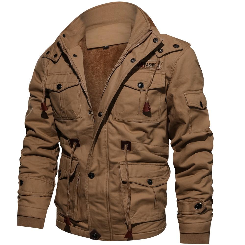 Image 4 - Мужская куртка бомбер, мужская куртка парка, зимняя флисовая  Повседневная стеганая куртка с несколькими карманами, Прямая  поставкаПарки