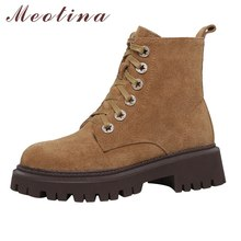Female Shoes Short-Boots Heel Platform-Block Lace-Up Meotina Real-Leather Winter Women
