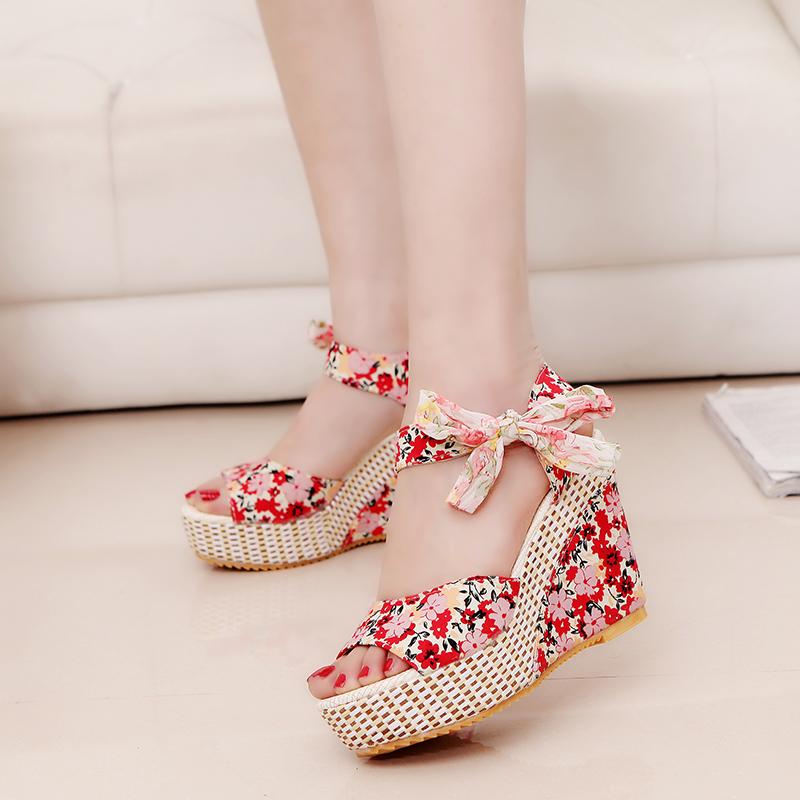 Lucyever Summer Beach Boho Floral Wedge Sandals Women Ankle Strap Platform Gladiator Shoes Woman High Heels Sandalias Mujer 2020