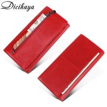 DICIHAYA, натуральная кожа, женский клатч, кошелек, Женский кошелек, портмоне, зажим для телефона, сумка, держатель для карт, удобный держатель для паспорта