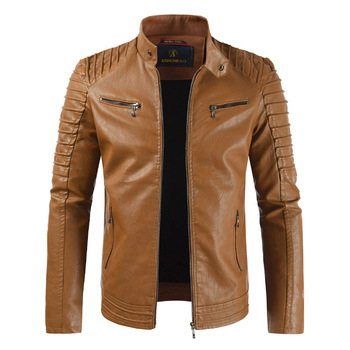 2019 New Hot Men's Spring and Autumn Casual PU Jacket Slim Casual Jacket Men's Brand Clothing Fashion Jacket Male Knight Jacket фото