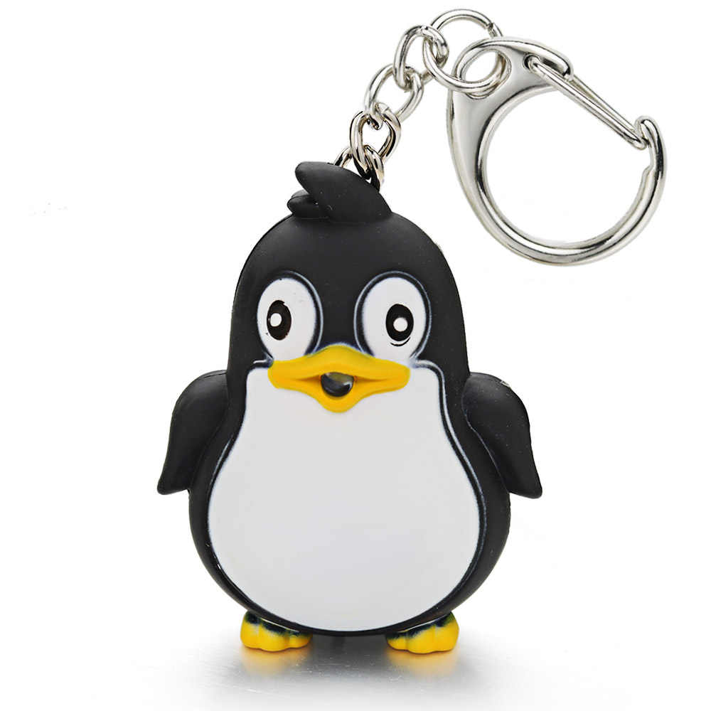 Bonito llavero de pingüino, linterna LED con luz de sonido, llavero para niños, juguete para regalo, divertido llavero de Animal, llavero Fashlight K391